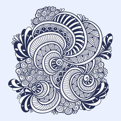 Abstract Zen tangle Zen doodle marine composition from shells black on white for coloring page or adult coloring books or for decoration T shirt or for print and others