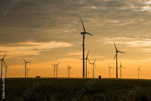 Fotobehang Meloen Wind Farm of Wind Turbines