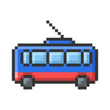 Outlined pixel icon of trolleybus. Fully editable