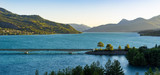 Summer panoramic view of Savines Bridge and Serre Poncon Lake in the Hautes Alpes. European Alps, France - 198726196