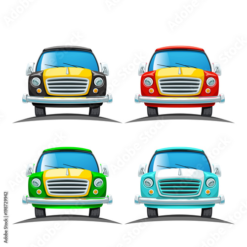 Fotobehang Auto front view car set