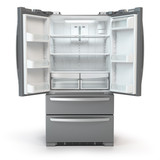 Open fridge freezer. Side by side stainless steel srefrigerator  isolated on white background. - 198736544