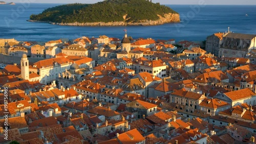 Historic City of Dubrovnik Old Town, Croatia - View of old houses and the Dubrovnik Cathedral. Prominent travel attraction of Croatia. Dubrovnik old town was listed as UNESCO World Heritage in 1979. © Blue Planet Studio