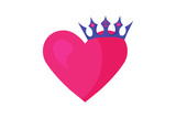 ector illustration of a Heart Shape and a crown. Great as metaphor of known saying: You are King or Queen of my Heart. Good for Valentine's Day, engagements, bridal shower, prince and princess party.