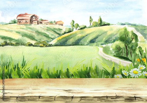 Foto op Canvas Beige Old farm in rural landscape and empty table as background . Watercolor hand drawn illustration