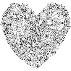 Heart shaped pattern. Coloring book page with different flowers and leaf in zentangle style. Black and white vector illustration. Doodle, hand drawn, zen art, anti stress.