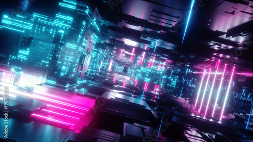 3d render, abstract tunnel, urban background, futuristic pink neon light, geometric structure, big data, quantum computer, storage, cyber safety, virtual reality - 198761321