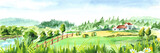 Rural landscape with river and farm. Watercolor hand drawn horizontal illustration - 198761585