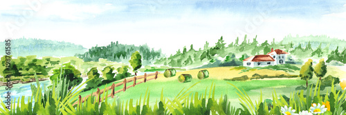 Rural landscape with river and farm. Watercolor hand drawn horizontal illustration