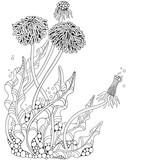 Dandelion flower. Adult Coloring book page. Black and white vector illustration. Doodle, hand drawn, art, herbal, botanical sketch.