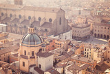 Aerial view of an old city center in daylight. Bologna, Italy - 198772337