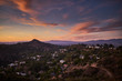 hollywood hills at dusk with colorful sky