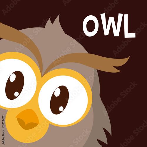 Fotobehang Uilen cartoon Owl cute animal cartoon
