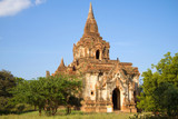 One of the Buddhist temples of ancient Bagan closeup on a Sunny day. Burma