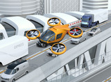 Fototapety Yellow passenger drone flying over cars in heavy traffic jam. Concept for drone taxi. 3D rendering image.
