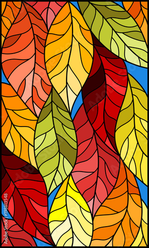 illustration-in-stained-glass-style-with-colorful-leaves-on-blue-background