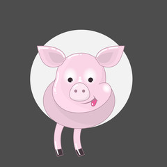 pink pig with tongue out