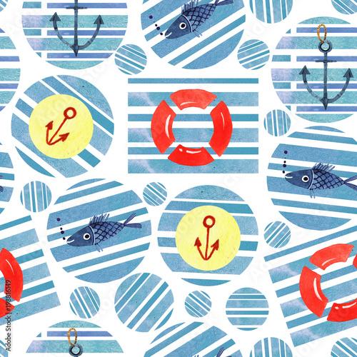 Materiał do szycia akwarela morze element wzór rękę wyciągnąć. ilustracja lato abstrakcja bezszwowe wzór geometryczny z niebieskim tle akwarela