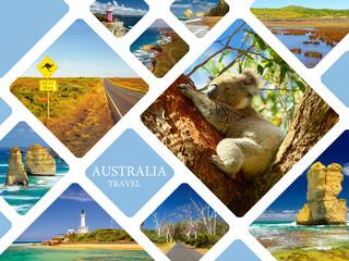 Photo collage of Australia. Great Ocean Road.  Twelve Apostles. Travel