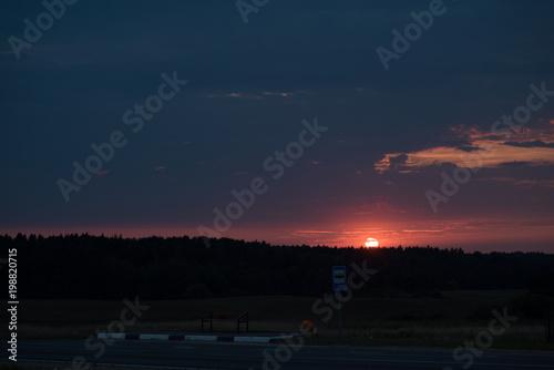 Fotobehang Nachtblauw Cold sunset