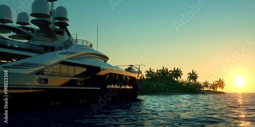 Bardzo szczegółowe i realistyczne wysokiej rozdzielczości 3D ilustracji Super jacht zbliża się tropikalna wyspa z palmami