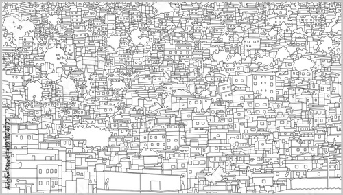 Background illustration of brazilian cityscape with residential building in high detail