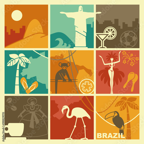 Brazilian symbols. Vector illustration