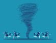 Business team escape on the tornado. Concept business vector illustration.