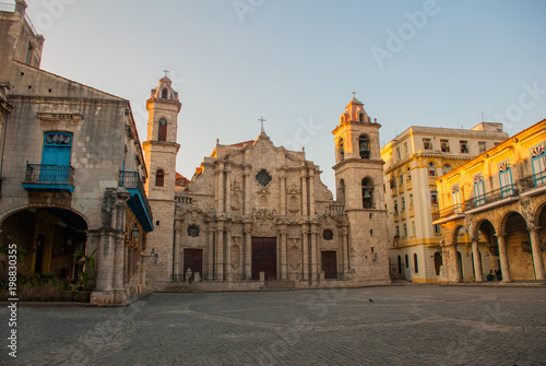 Foto op Canvas Havana Cathedral of St. Christopher in Old Havana on the square of Cienaga in the evening. Cuba