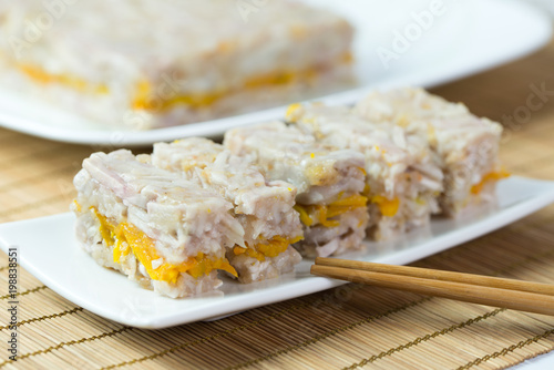 Chinese style homemade steamed yam pumpkin cake