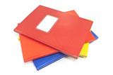 Colorful notebooks isolated on white backgroun