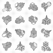 Engineering constructions collection, abstract vectors set.