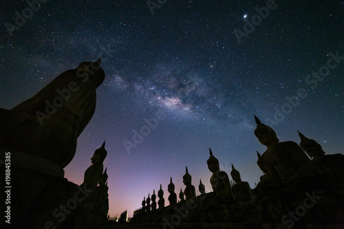 Fotobehang Boeddha Big Buddha statue with milky way galaxy in Nakhon si thammarat Province, Thailand