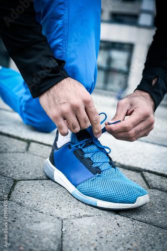 Keuken foto achterwand Jogging Preparation for exercising.