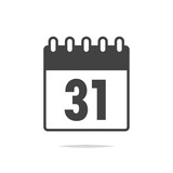 Calendar date 31th icon vector isolated - 198850112