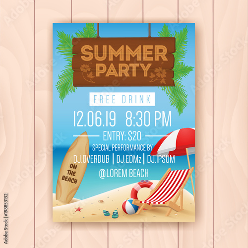 Summer party advertising poster design with hanging signboard