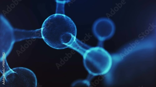 3D Animation of abstract molecule. Concept of science or medicine