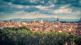Aerial panoramic view of Rome in summer, Italy