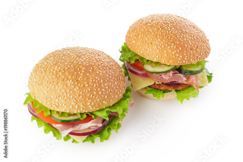 burger on white background - 198861170