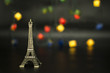Eiffel tower isolated on black background.