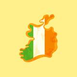 Ireland - Map colored with Irish flag