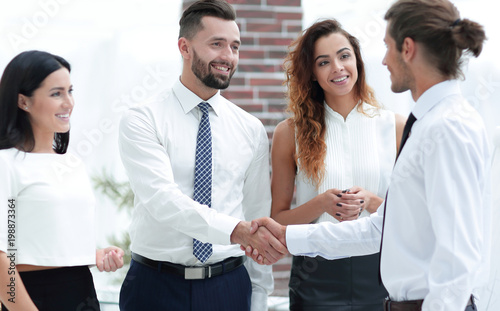 welcome and handshake business partners.