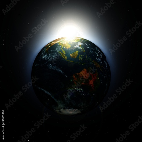 planet earth in space at sunrise, 3D rendering
