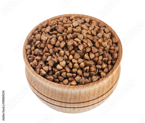 Buckwheat grain isolated on white background with clipping path. Closeup