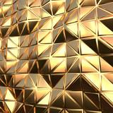 Abstract gold triangular pattern 3d render