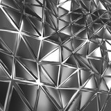 Abstract silver triangular background 3d render