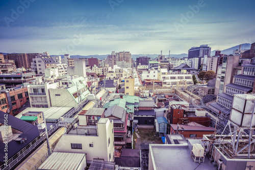 Fotobehang Kyoto Kyoto aerial skyline view, Japan