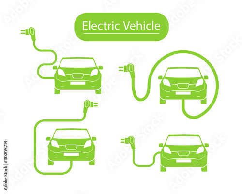 Electrical Charging Station Symbol Electric Car Icon Isolated Vehicle Road Sign Template With Set Of Icons