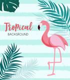 Abstract Tropical Background with Flamingo and Palm Leaves. Vector Illustration