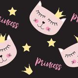 Little Cute Cat Princess Seamless Pattern Background Vector Illustration